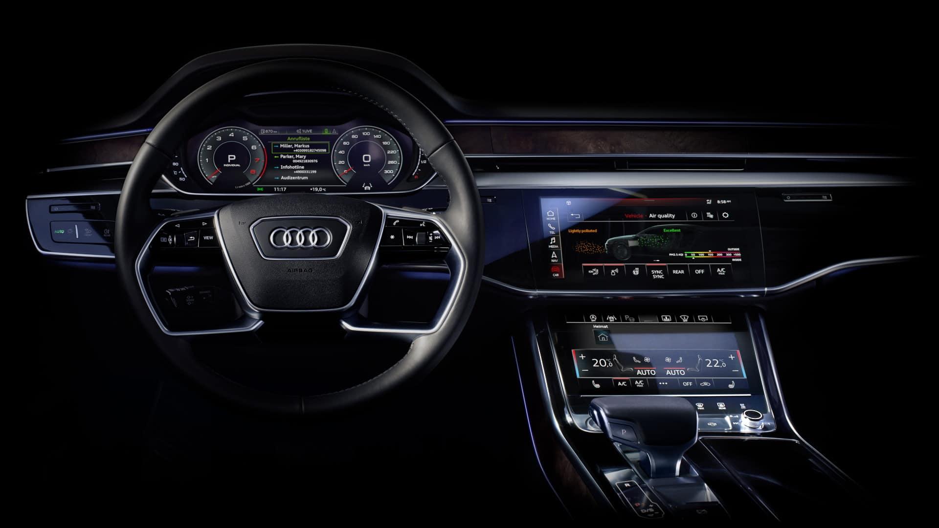 Jakość powietrza - kokpit Audi A8
